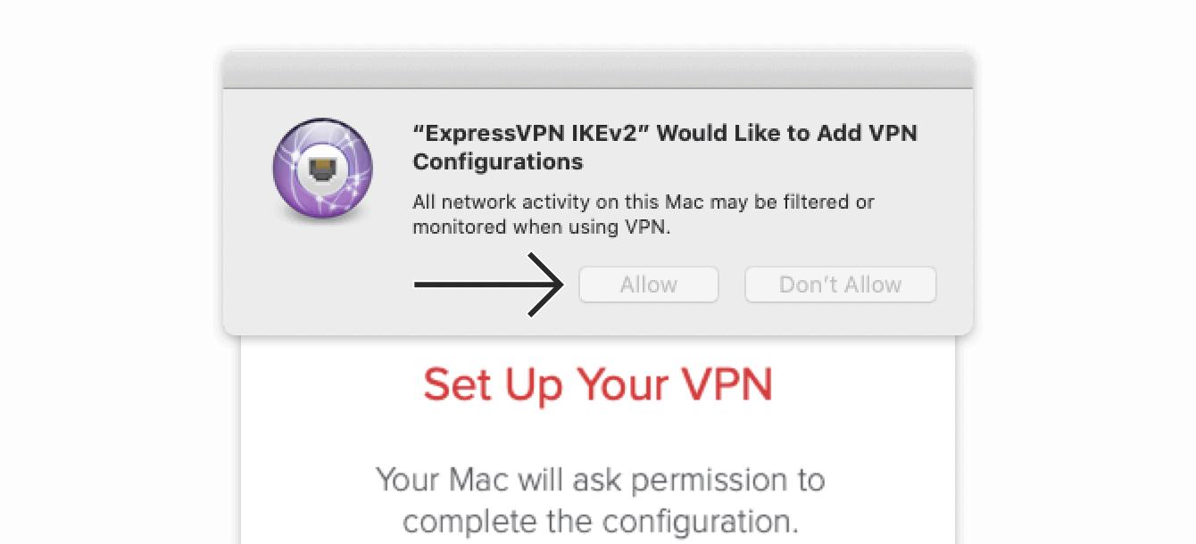 """单击""""允许""""完成VPN配置。"""