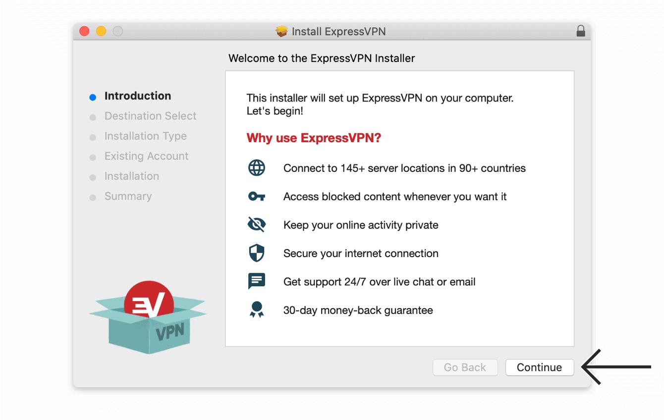 """单击""""继续""""以安装ExpressVPN。"""