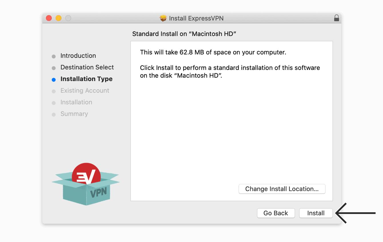 """单击""""安装""""以安装ExpressVPN应用程序。"""