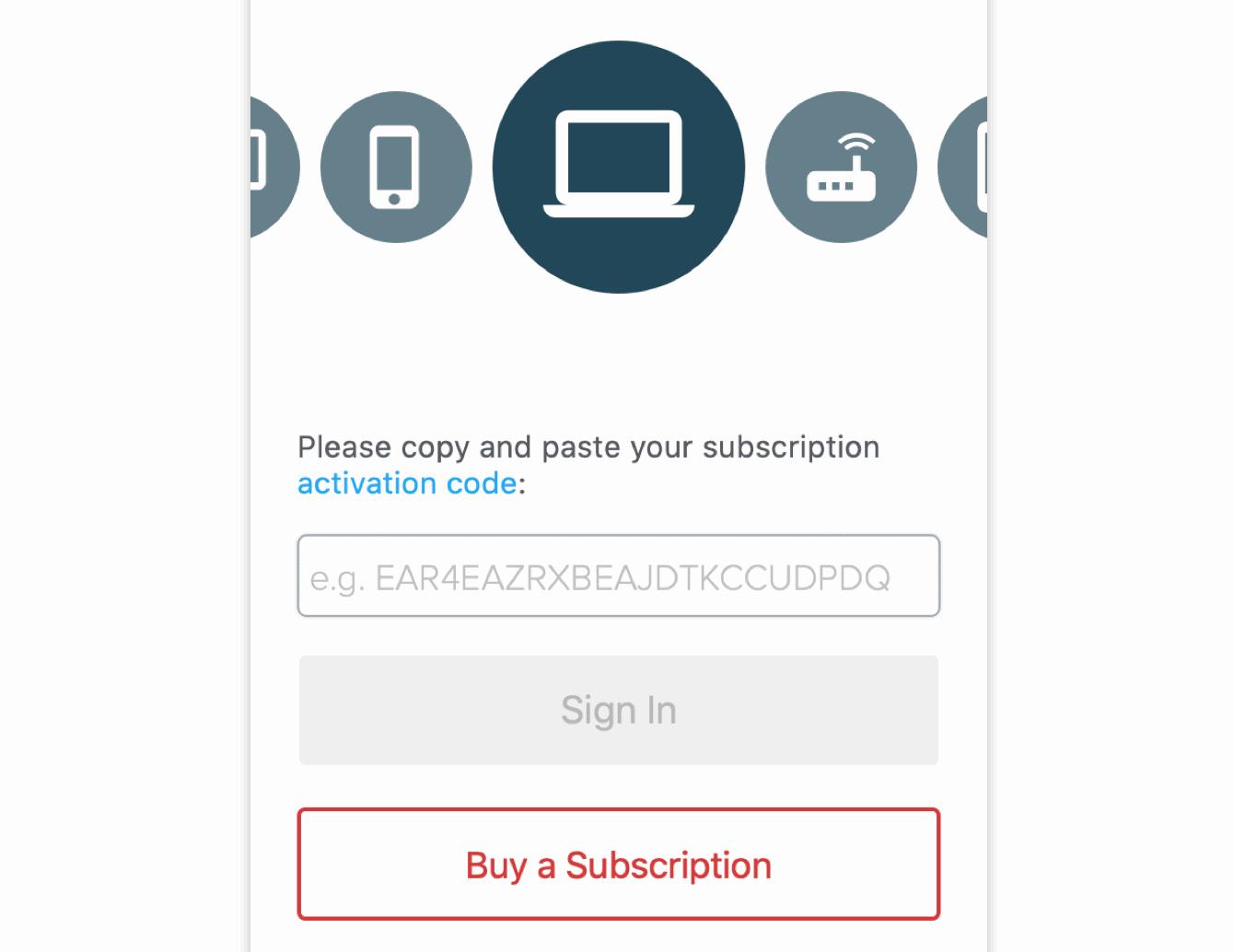 粘贴您的激活码以登录。
